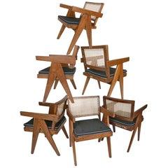 Pierre Jeanneret Set of Six Armchairs, Model PJ-SI-28-B