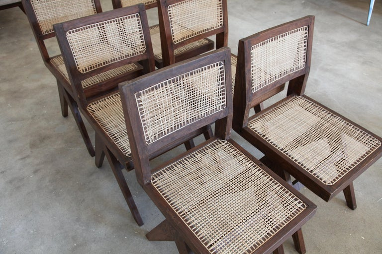 Pierre Jeanneret, Set of Six Armless V-Leg Chairs from Chandigarh, circa 1955 For Sale 1