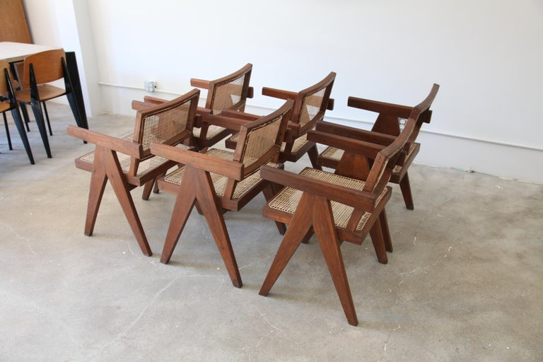 Mid-Century Modern Pierre Jeanneret, Set of Six V-Leg Armchairs from Chandigarh, circa 1955 For Sale