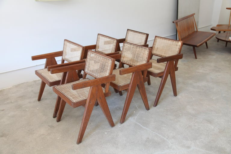 Indian Pierre Jeanneret, Set of Six V-Leg Armchairs from Chandigarh, circa 1955 For Sale