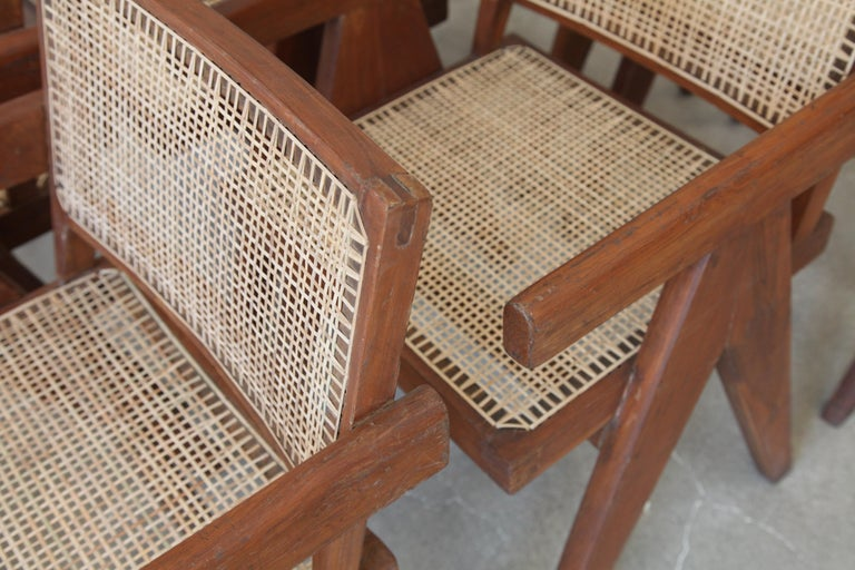 20th Century Pierre Jeanneret, Set of Six V-Leg Armchairs from Chandigarh, circa 1955 For Sale