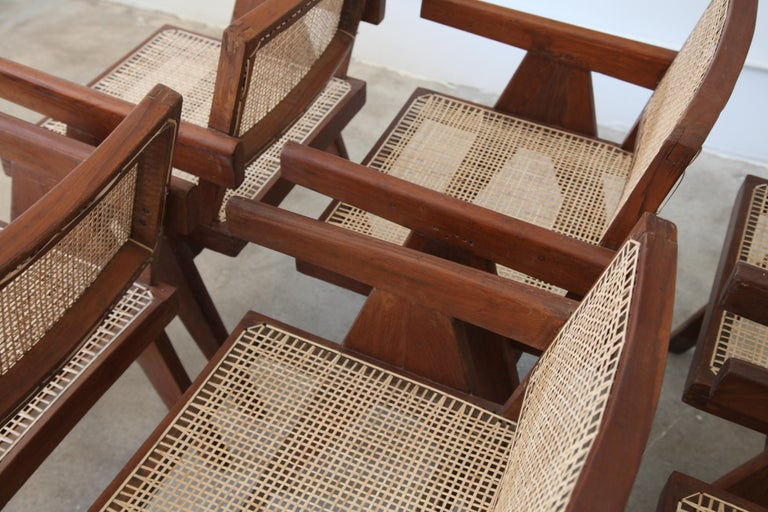 Teak Pierre Jeanneret, Set of Six V-Leg Armchairs from Chandigarh, circa 1955 For Sale