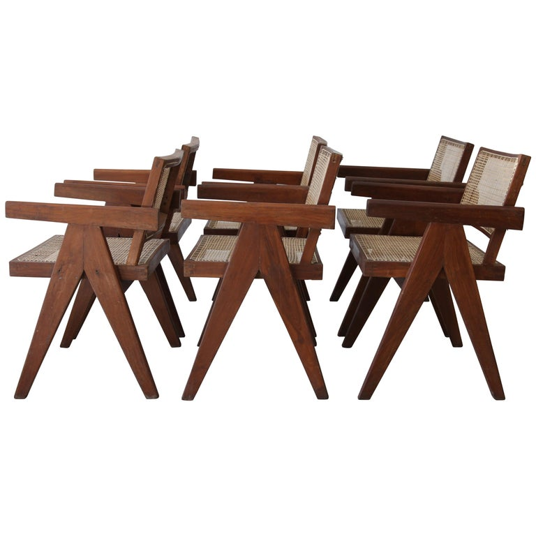Pierre Jeanneret, Set of Six V-Leg Armchairs from Chandigarh, circa 1955 For Sale