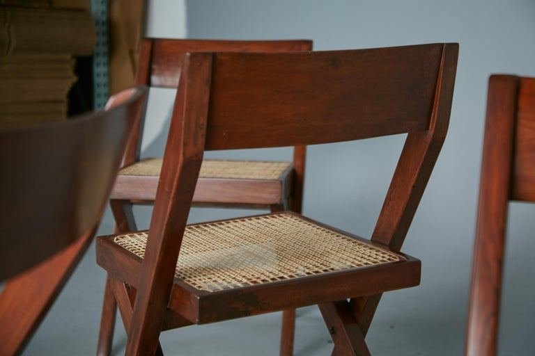 Pierre Jeanneret Solid Teak and Cane