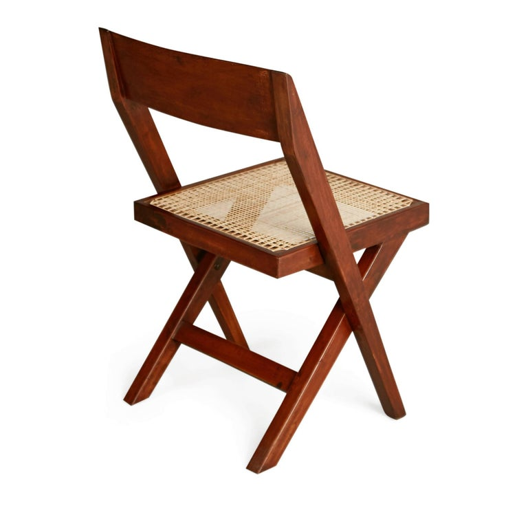 Indian Pierre Jeanneret Solid Teak and Cane