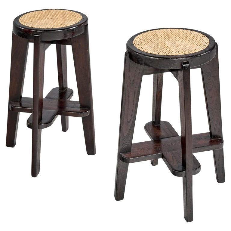 Pierre Jeanneret, Stools, a Pair, circa 1965 For Sale