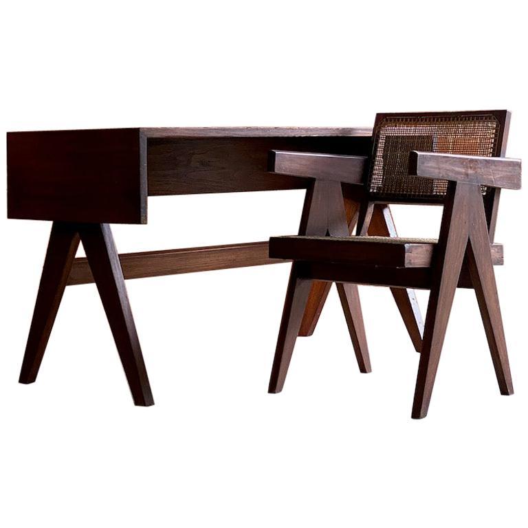 Pierre Jeanneret Student Library Desk & V Leg Chair Chandigarh, Circa 1955