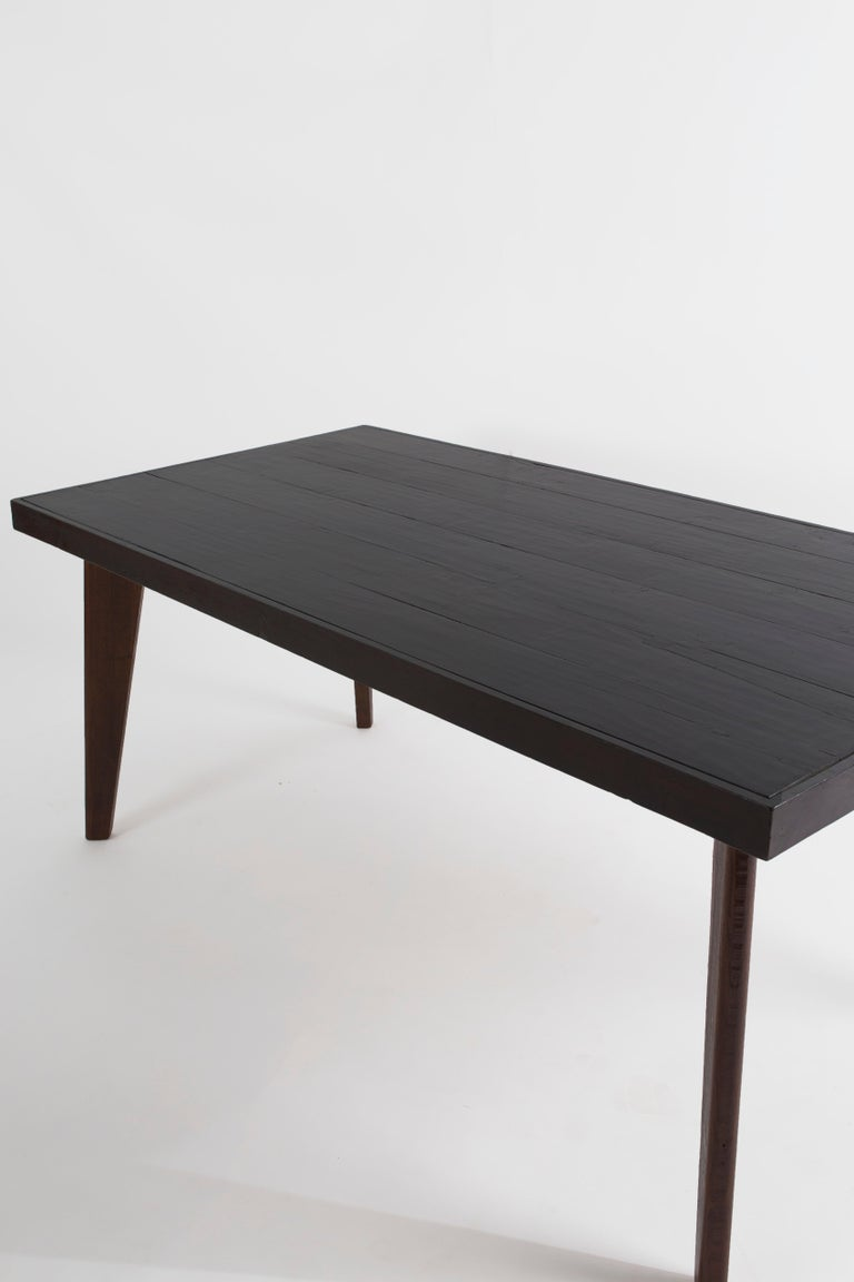 Pierre Jeanneret Cafeteria Table in Solid Teak, Ebony Stained, circa 1960  Provenance: Private Residences, Cafeteria PGI, Punjab University, Chandigarh, Inda.