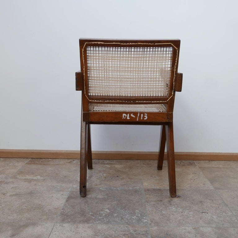 Pierre Jeanneret Teak and Cane Midcentury Chandigarh Office Chair For Sale 4