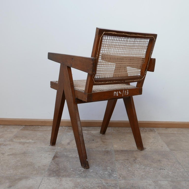 Pierre Jeanneret Teak and Cane Midcentury Chandigarh Office Chair For Sale 5