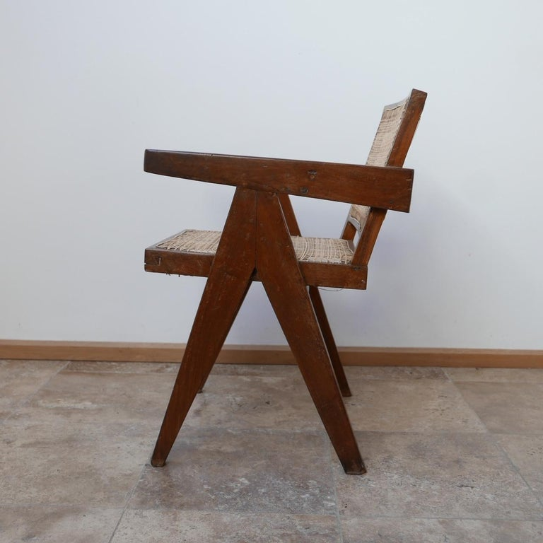 Pierre Jeanneret Teak and Cane Midcentury Chandigarh Office Chair For Sale 6