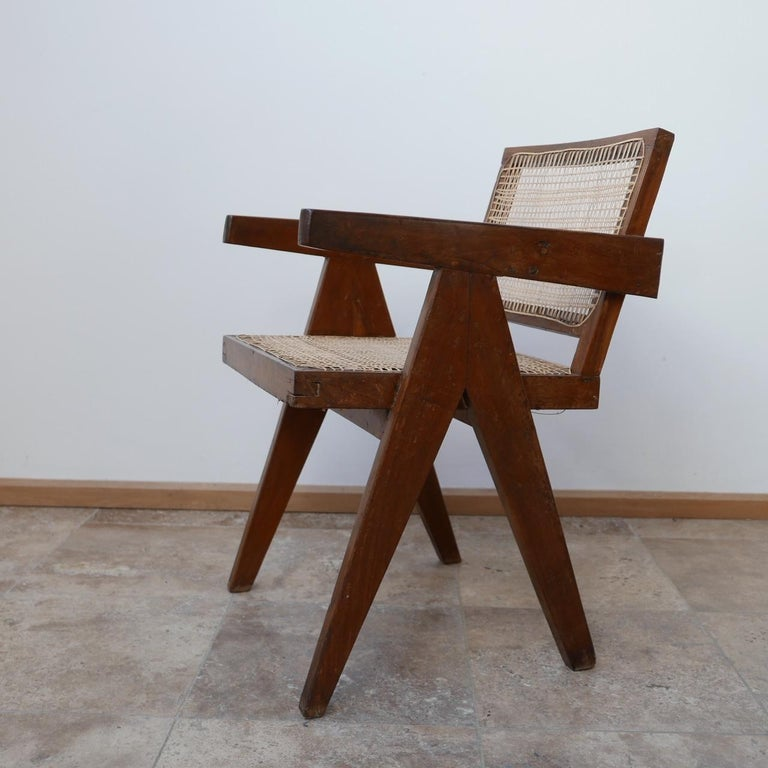 Pierre Jeanneret Teak and Cane Midcentury Chandigarh Office Chair For Sale 7