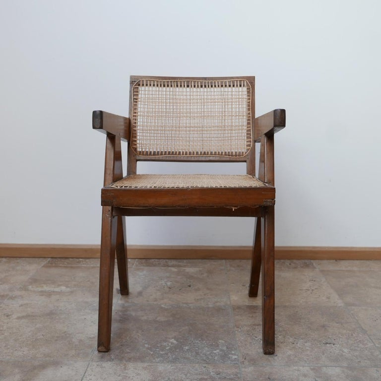 Pierre Jeanneret Teak and Cane Midcentury Chandigarh Office Chair For Sale 8
