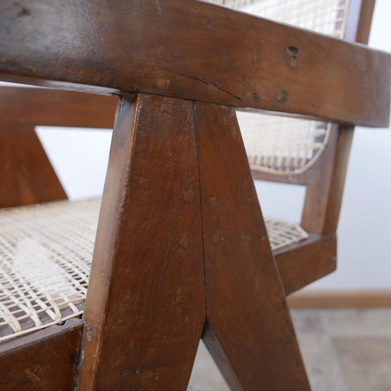 Mid-Century Modern Pierre Jeanneret Teak and Cane Midcentury Chandigarh Office Chair For Sale