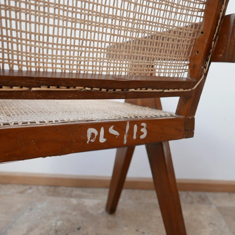 Pierre Jeanneret Teak and Cane Midcentury Chandigarh Office Chair In Good Condition For Sale In Surbiton, Surrey