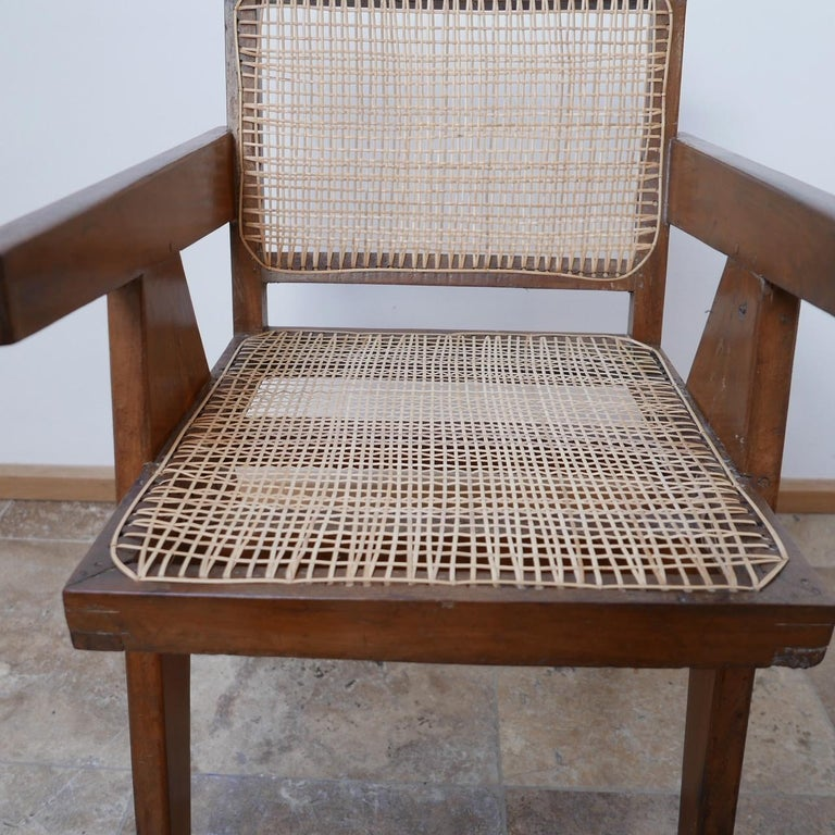 Mid-20th Century Pierre Jeanneret Teak and Cane Midcentury Chandigarh Office Chair For Sale