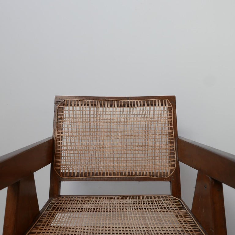 Pierre Jeanneret Teak and Cane Midcentury Chandigarh Office Chair For Sale 1