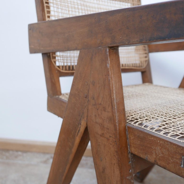 Pierre Jeanneret Teak and Cane Midcentury Chandigarh Office Chair For Sale 2