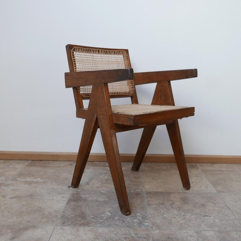 Pierre Jeanneret Teak and Cane Midcentury Chandigarh Office Chair For Sale 3