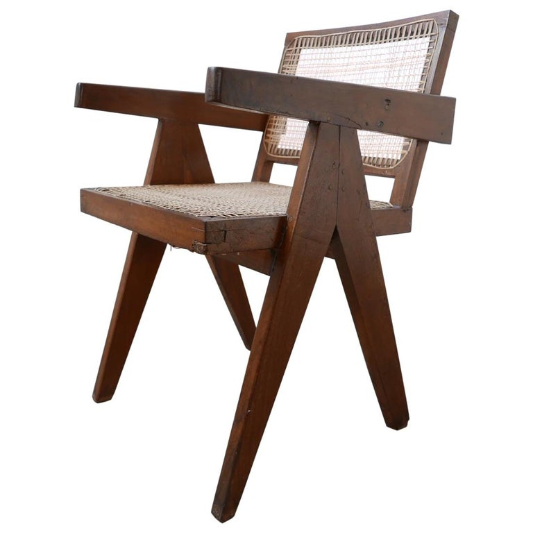 Pierre Jeanneret Teak and Cane Midcentury Chandigarh Office Chair For Sale