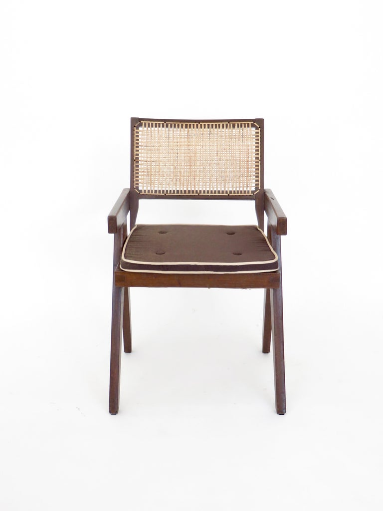 Pierre Jeanneret Teak and Cane Office Armchair from Chandigarh  For Sale 4