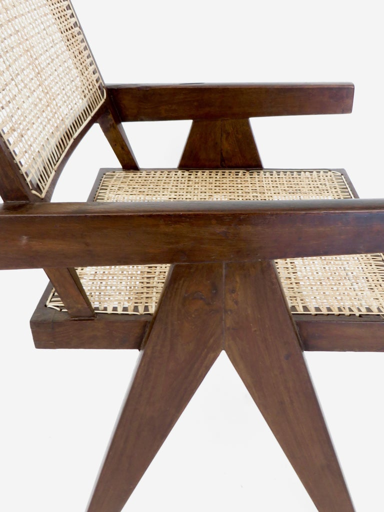 Pierre Jeanneret Teak and Cane Office Armchair from Chandigarh  For Sale 5