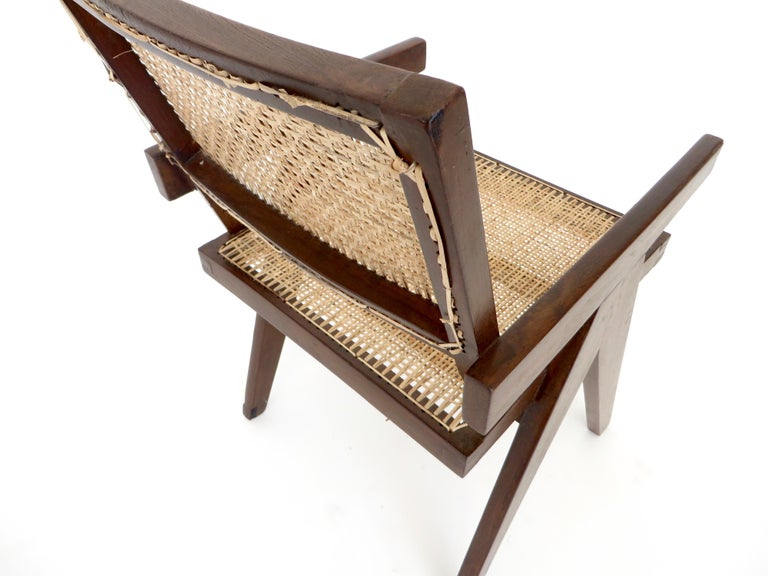Pierre Jeanneret Teak and Cane Office Armchair from Chandigarh  For Sale 6