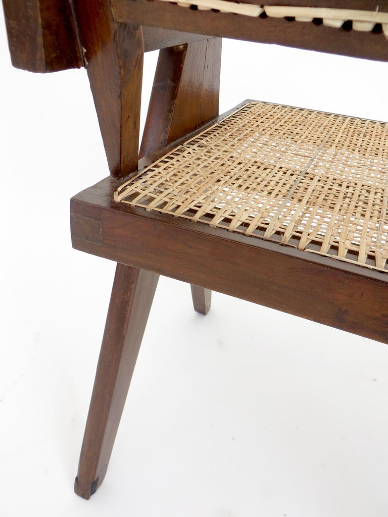 Pierre Jeanneret Teak and Cane Office Armchair from Chandigarh  For Sale 7