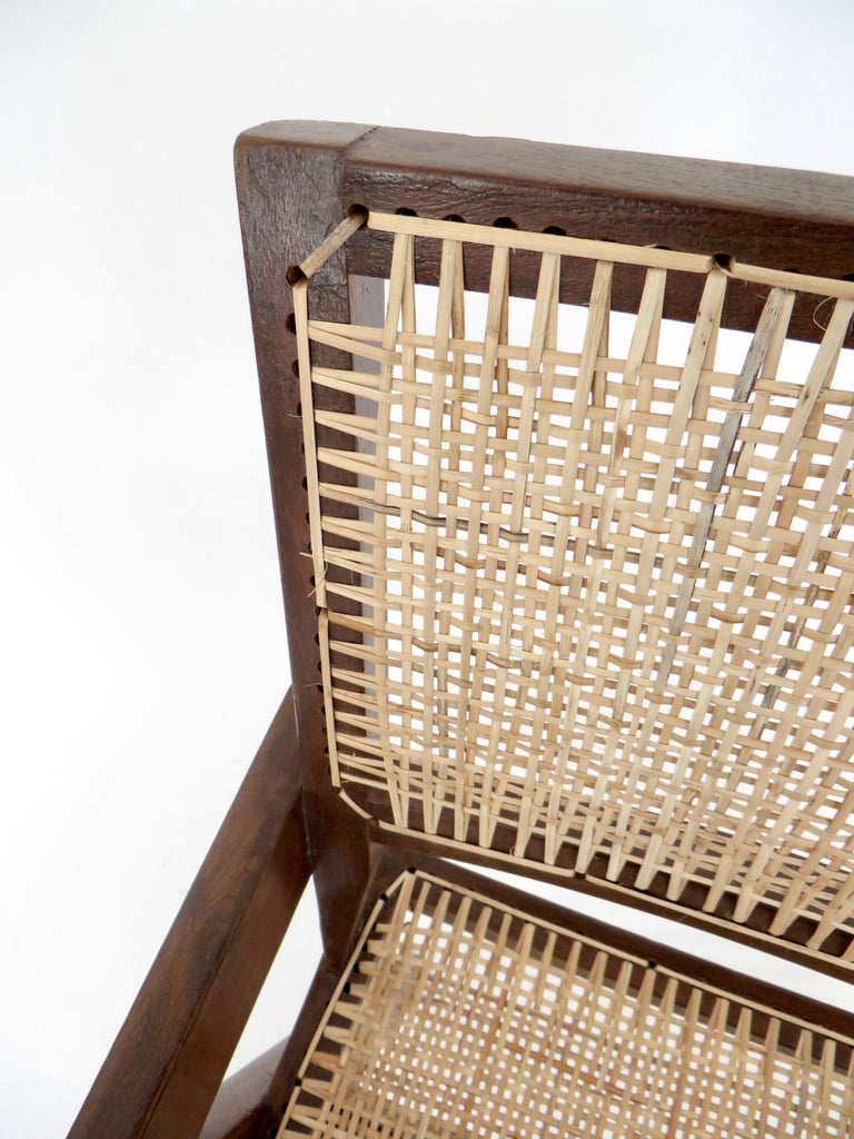 Pierre Jeanneret Teak and Cane Office Armchair from Chandigarh  For Sale 8