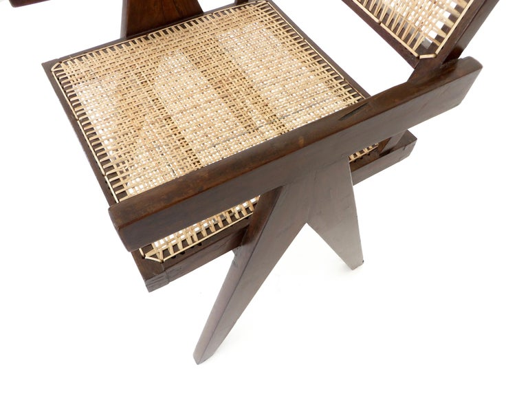 Pierre Jeanneret Teak and Cane Office Armchair from Chandigarh  For Sale 9