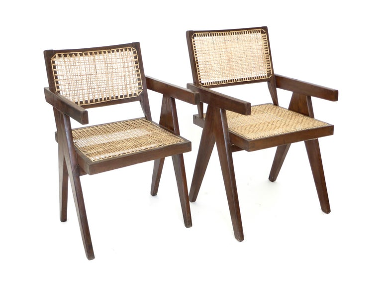 Pierre Jeanneret Teak and Cane Office Armchair from Chandigarh  For Sale 11