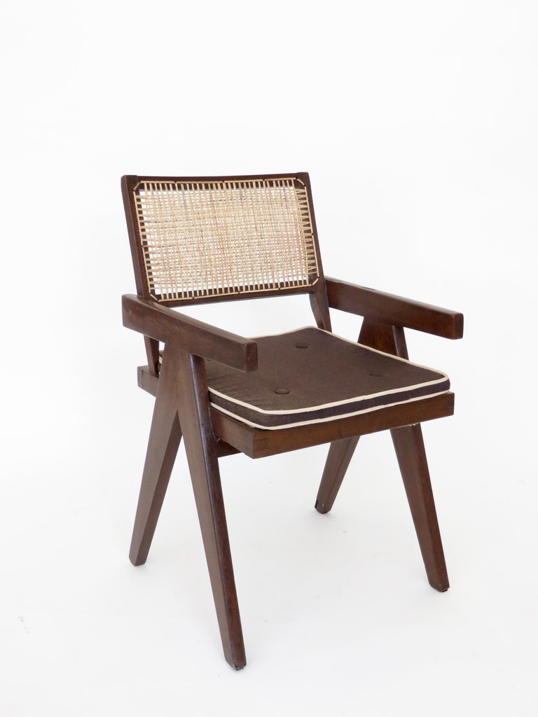 A single armchair called office cane chair by Pierre Jeanneret (1896-1967) from Chandigarh. In teak with cushion and with bended and slightly curved back. Cane seat and back, circa 1956. New caning. All of these chairs from Chandigarh have new