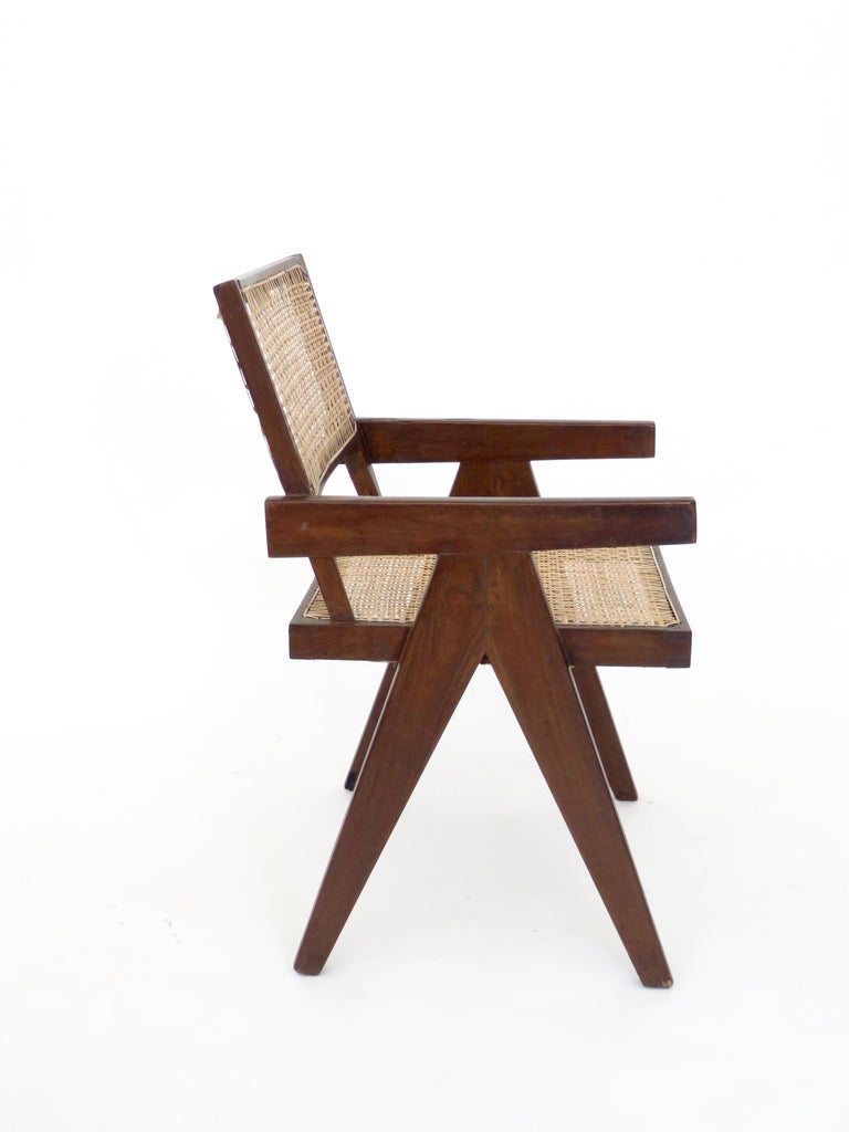 Mid-Century Modern Pierre Jeanneret Teak and Cane Office Armchair from Chandigarh  For Sale