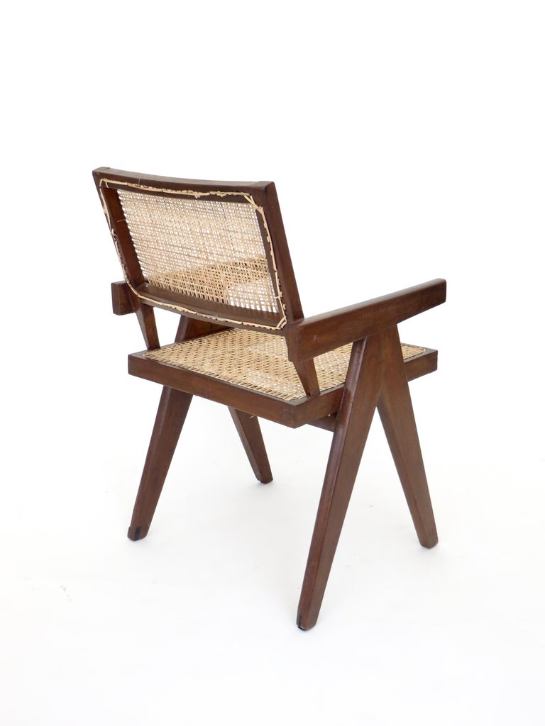Indian Pierre Jeanneret Teak and Cane Office Armchair from Chandigarh  For Sale