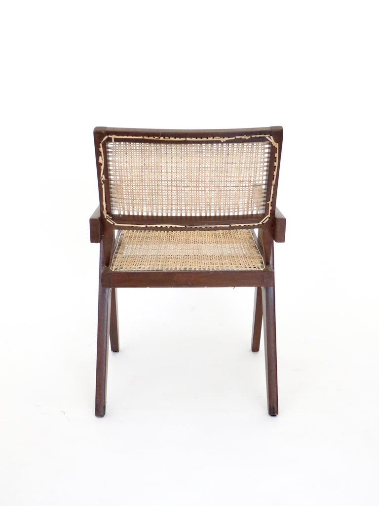 Pierre Jeanneret Teak and Cane Office Armchair from Chandigarh  In Good Condition For Sale In Chicago, IL