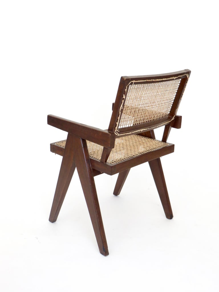 Mid-20th Century Pierre Jeanneret Teak and Cane Office Armchair from Chandigarh  For Sale