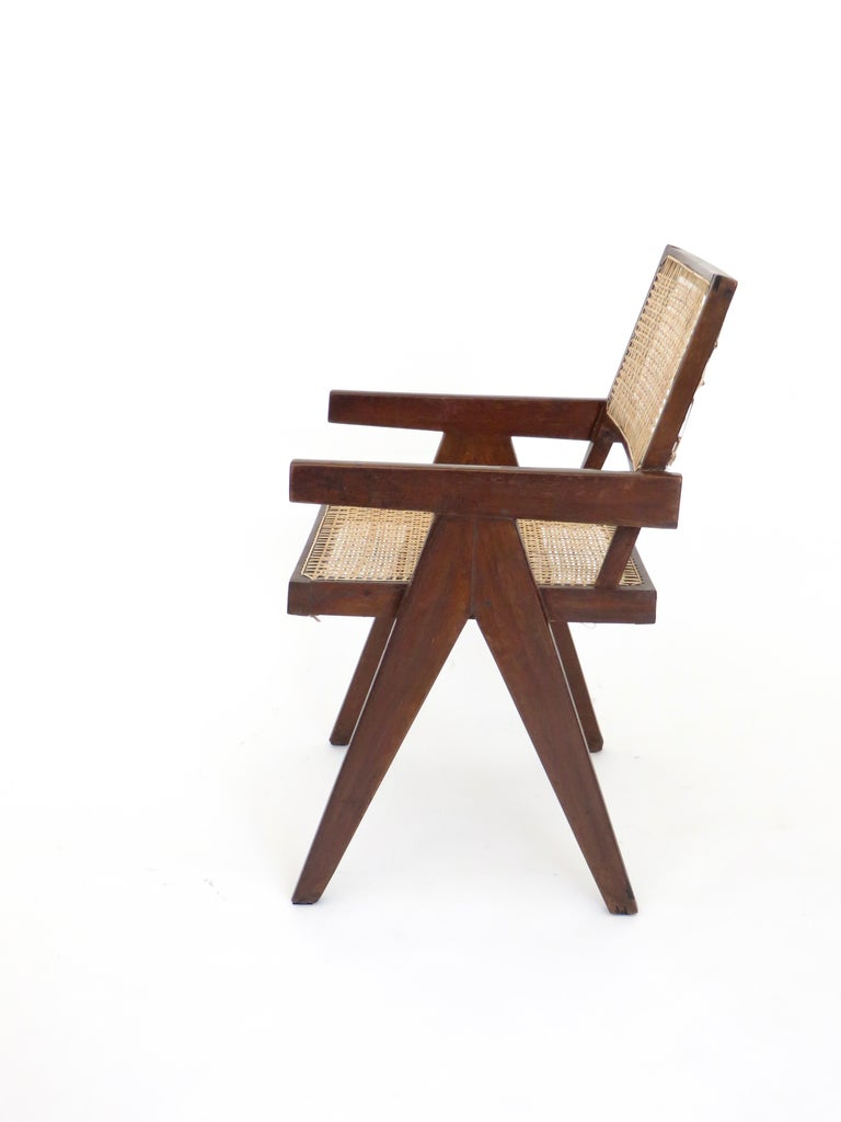 Pierre Jeanneret Teak and Cane Office Armchair from Chandigarh  For Sale 1