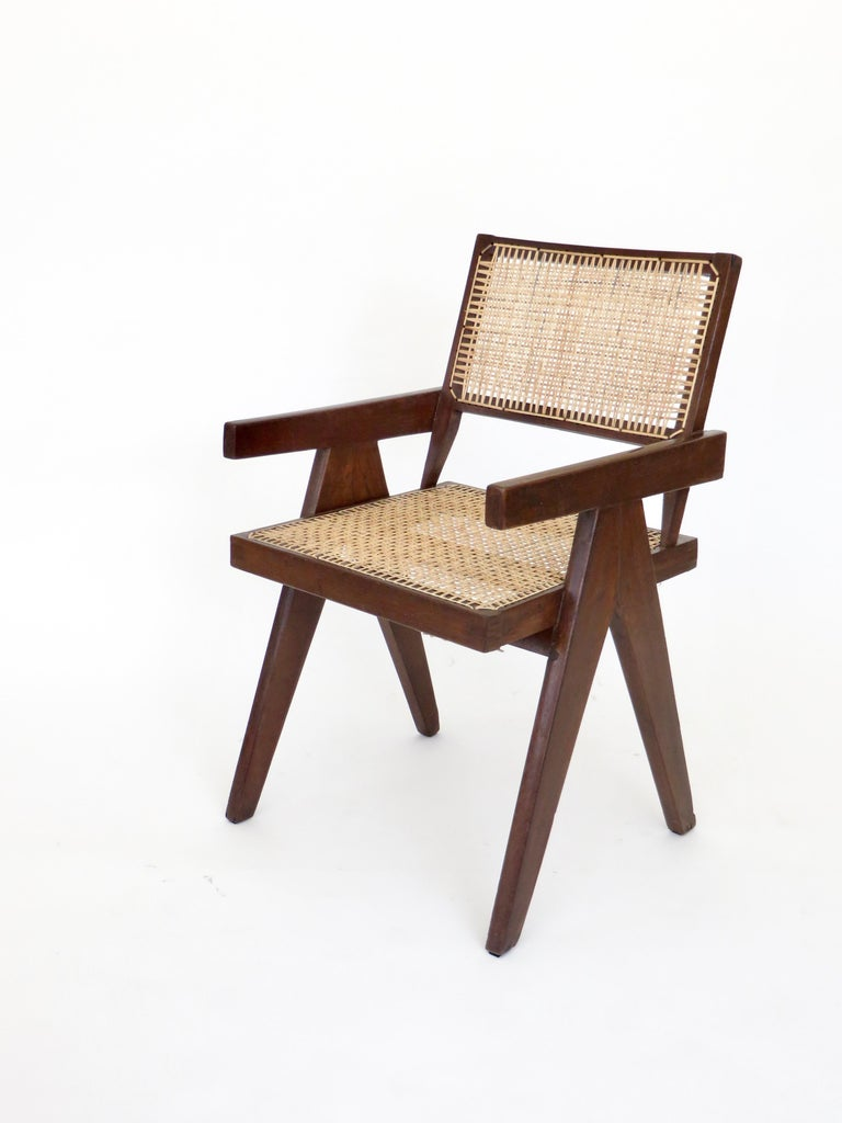 Pierre Jeanneret Teak and Cane Office Armchair from Chandigarh  For Sale 2