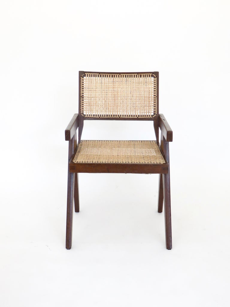 Pierre Jeanneret Teak and Cane Office Armchair from Chandigarh  For Sale 3