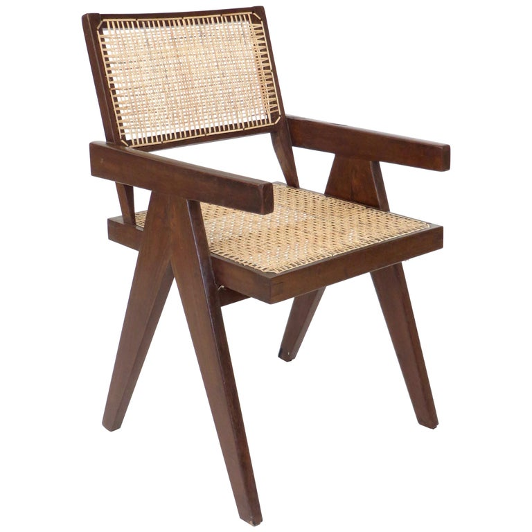 Pierre Jeanneret Teak and Cane Office Armchair from Chandigarh  For Sale