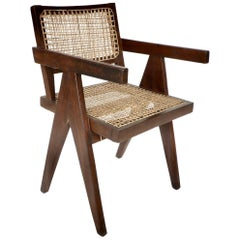 Pierre Jeanneret Teak and Cane Office Vintage Original Armchair from Chandigarh
