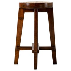Pierre Jeanneret Teak Bar Stool 1960s, Chandigarh, Model No. PJ-SI-21-A