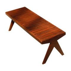 Pierre Jeanneret Teak Bench with Slats, Circa 1960s