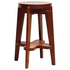 Pierre Jeanneret Teak High Stool, circa 1950s, Chandigarh