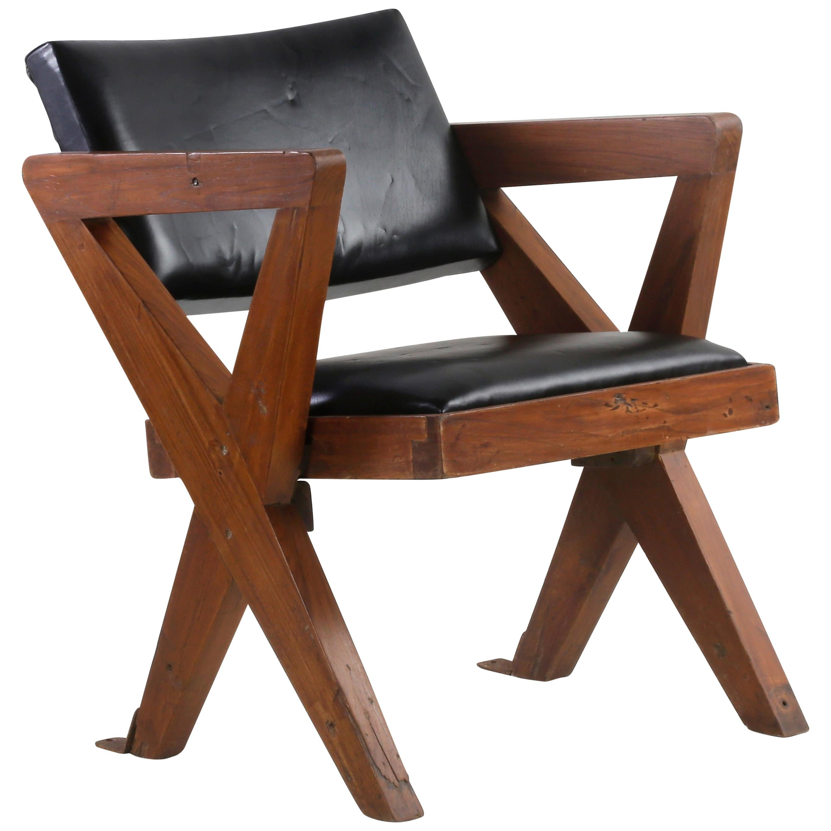 Pierre Jeanneret Teak & Leather Chair Authentic Mid-Century Modern PJ-SI-49-A