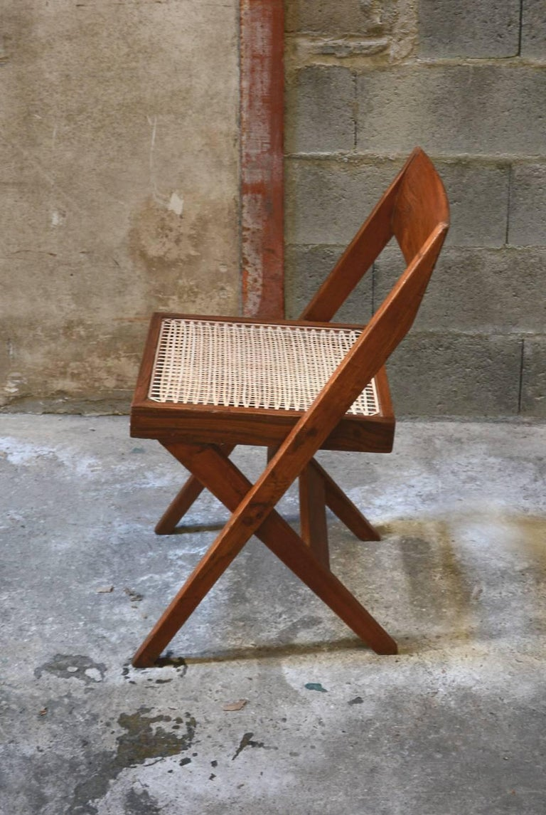 Mid-20th Century Pierre Jeanneret Unique Set of 10 Library Chairs For Sale
