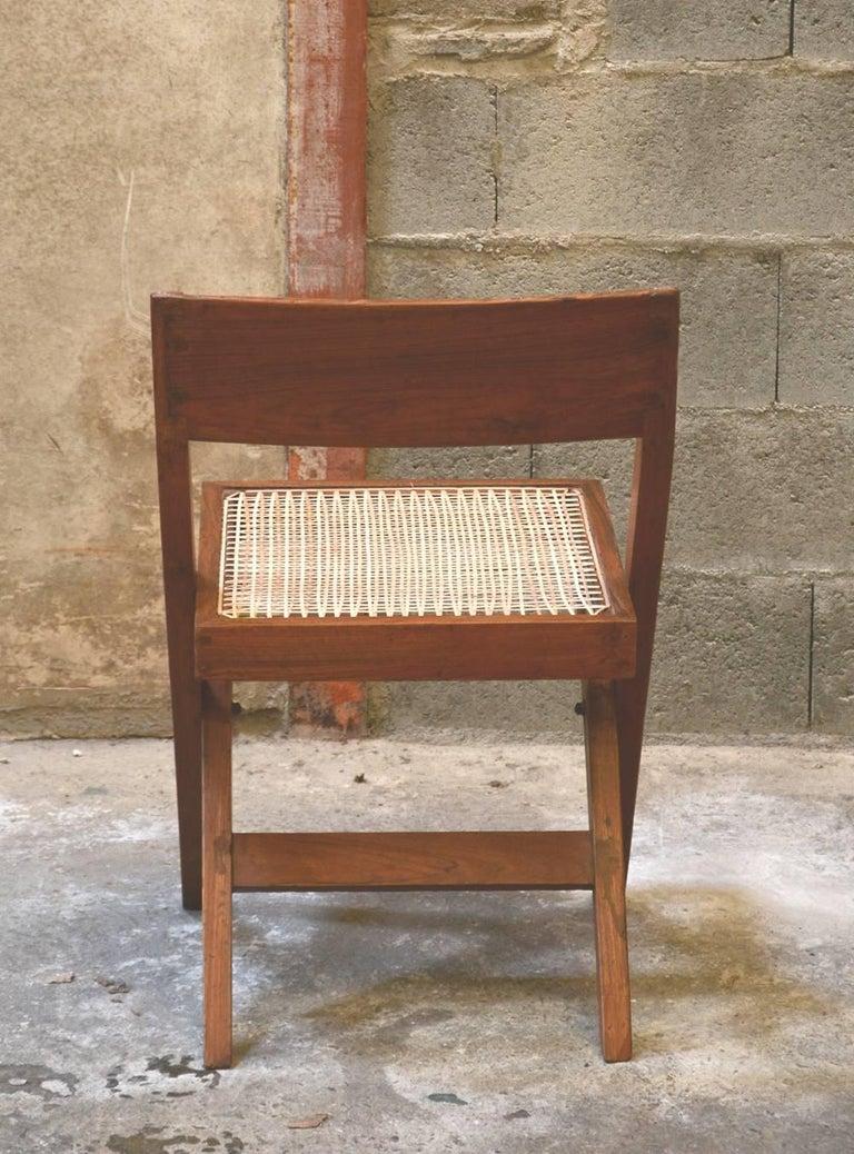 Teak Pierre Jeanneret Unique Set of 10 Library Chairs For Sale