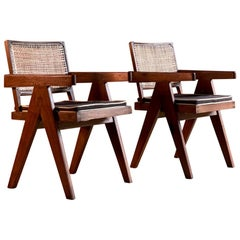 Pierre Jeanneret V Leg Chairs Pair in Teak and Cane Chandigarh, circa 1955