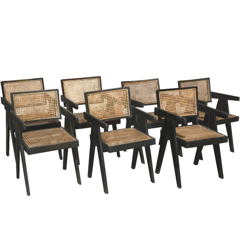 Pierre Jeanneret, Rare Set of five Office Chairs in Their Original Condition