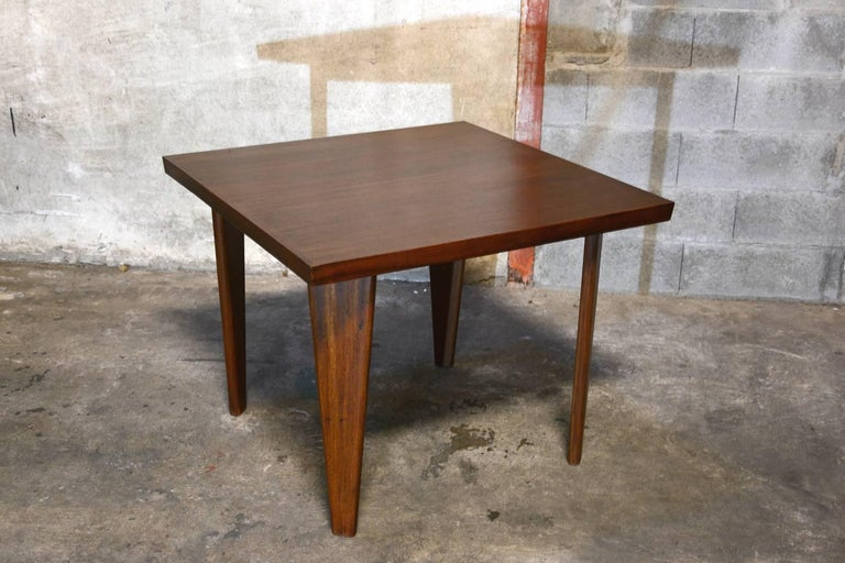 Pierre Jeanneret, square table for the administration building in Chandigarh, India. See photo before restoration when I bought it in Chandigarh. Auction: Sold 12 733 € at Phillips UK the 24/09/2014.  Literature: P. 585 REF PJ-TAT-04-A in: Eric